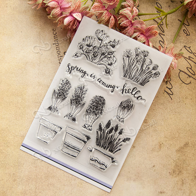 Flowers and pots Transparent Clear Silicone Stamp/Seal for DIY scrapbooking/photo album Decorative clear stamp lovely bear and star design clear transparent stamp rubber stamp for diy scrapbooking paper card photo album decor rm 037