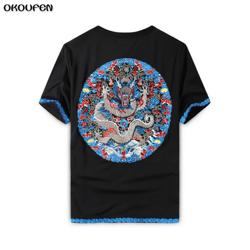 High quality hand embroidery chinese dragon t shirt men s