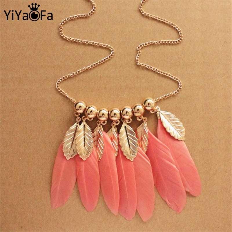 Yiyaofa Ручная работа ожерелье с перьями для женщин винтажные ожерелья и подвески на