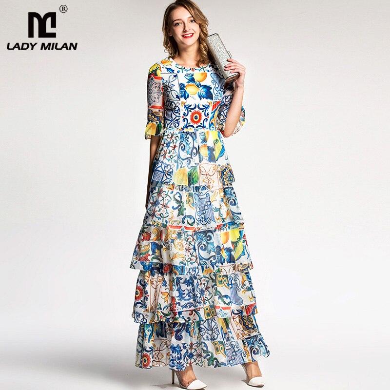 Lady Milan 2019 femmes col rond demi manches Floral imprimé volants à plusieurs niveaux bal Designer longues robes