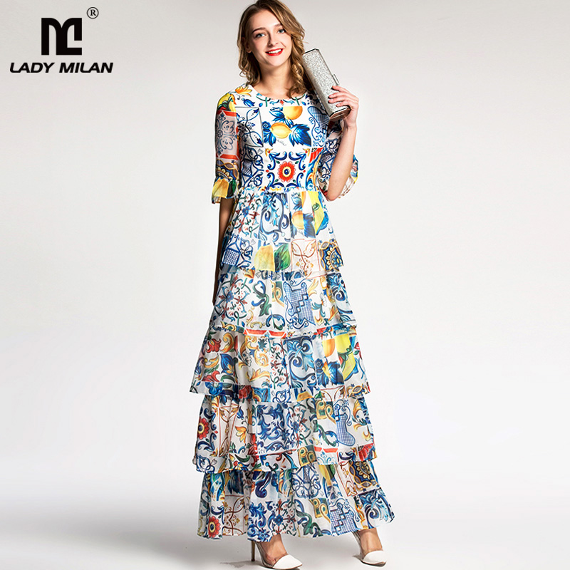 Lady Milan 2018 Womens O Neck Half Sleeves Floral Printed Tiered Ruffles Prom Designer Long Dresses