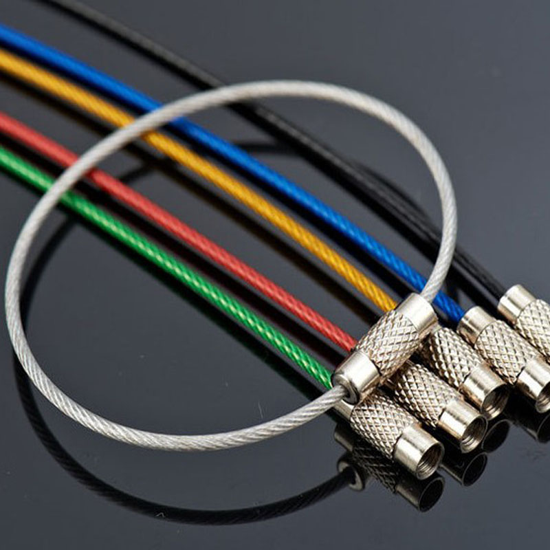 1.5mmx15cm 10pcs/lot Outdoor Tool Accessory Camping Edc Gear Colored Stainless Steel Wire Keychain Cable Key Ring