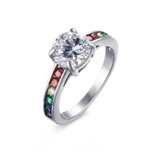 Lesbian Colorful Chromium Steel Solitaire Engagement Ring