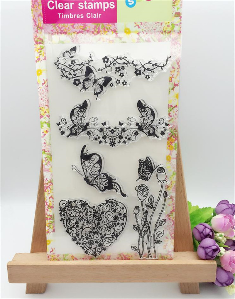 Scrapbook DIY photo cards account rubber stamp clear stamp transparent stamp aboutbutterfly and loving heart  CL-262 lovely animals and ballon design transparent clear silicone stamp for diy scrapbooking photo album clear stamp cl 278