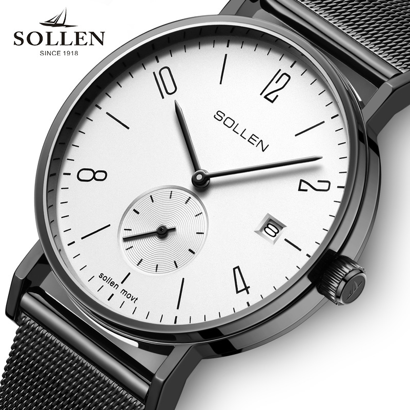 SOLLEN Brand luxury business watch font b men s b font font b quartz b font