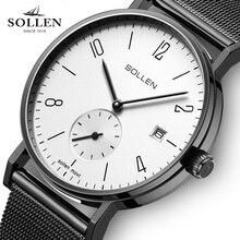 SOLLEN Brand luxury business watch men's quartz watch Stainless Steel band Mesh Japan movement men's Vintage Dress watchs male