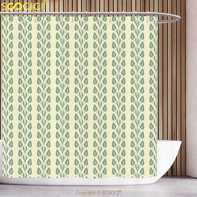 Decorative Shower Curtain Floral Flourishing Spring Flowers And Green Leaves Wavy Vertical Art Pattern Cream Orange