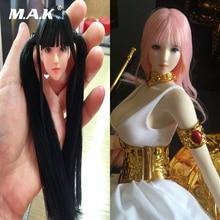 1: 6 Scale Girl Head Sculpt med svart / rosa långt hårsuntan / blek färg för PH Female Figure Body