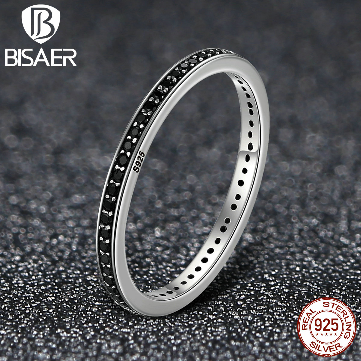 925 Sterling Silver Black Clearly CZ, Stackable Round Shape Finger Rings Women Engagement Jewelry Femme bague ECR114 925 sterling silver pear natural blue moonstone accent cz rings for women wedding engagement jewelry finger anillos bague anillo