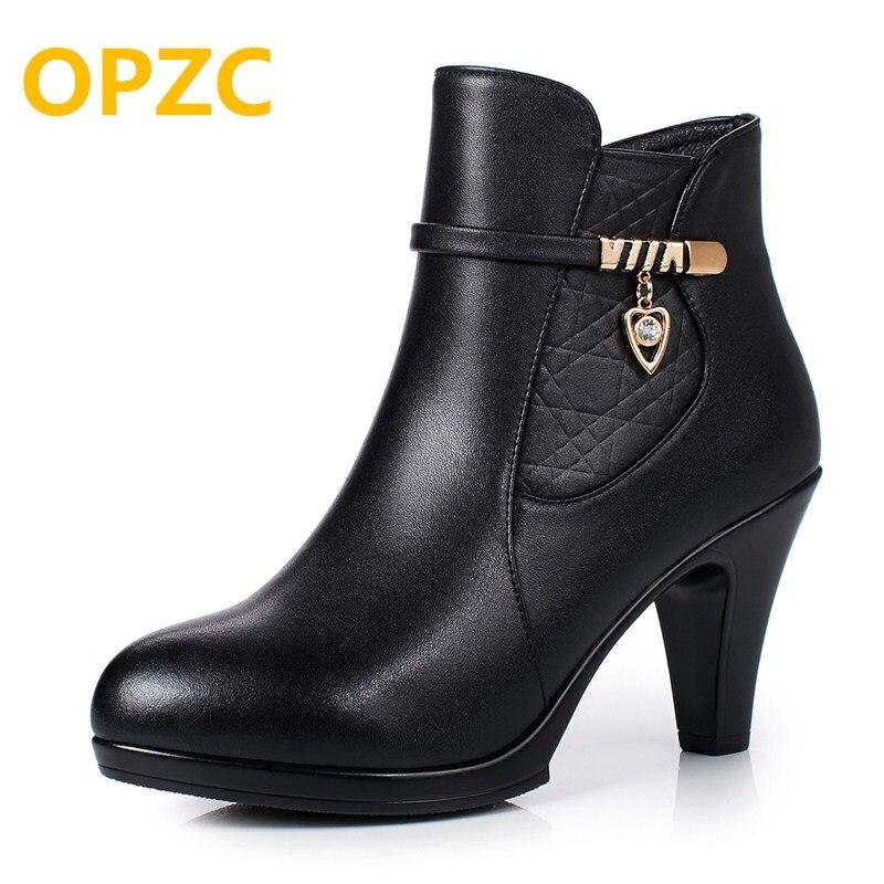 OPZC 2018 winter new genuine leather women's Martin boots, warm fashion high-heeled women wool boots, party ankle boots women кирилл леонидов проект акация современный роман версия