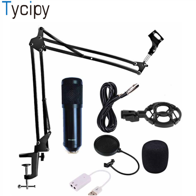 Tycipy Microphone BM-900 Condenseur Professionnel Audio Studio Vocal Wired Ordinateur Mic KTV Réglable volume avec Choc Stand