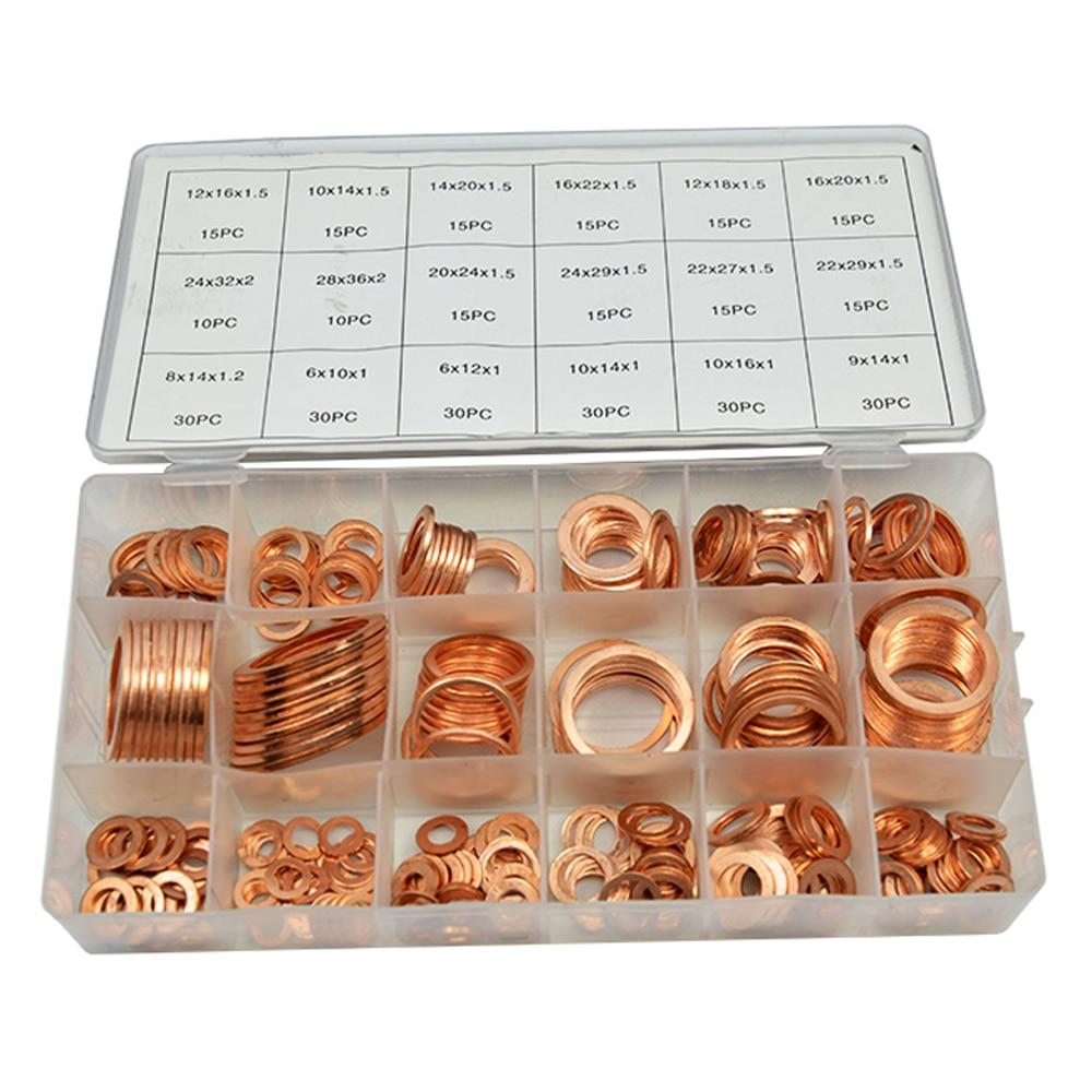 350 pièces 18 Tailles Métrique Cuivre Plat rondelle Joints Assortiment Set Kit