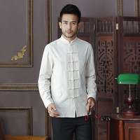 Summer New Beige Chinese Traditional Men's Mandarin Collar Solid Cotton Long Sleeve Kung Fu Shirt Coat M L XL XXL XXXL D04