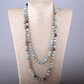Free Shipping Artisan Jewelry Fashion knotted long Halsband Amazonite Stones Necklace