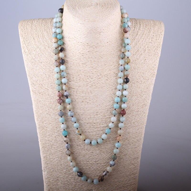 Prix pour Livraison Gratuite Artisan Bijoux De Mode longue nouée Halsband Amazonite Pierres Collier De Mode