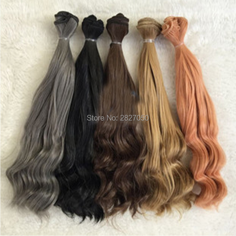one piece 25*100cm bjd Hair Black Brown Pink Grey Khaki Natural Color Long Wave Curly Hair for BJD Doll 1/3 1/4 1/6 15x100cm diy brown black coffee khaki color curly hair wig hairpiece for 1 3 1 4 1 6 bjd sd luts dolls making