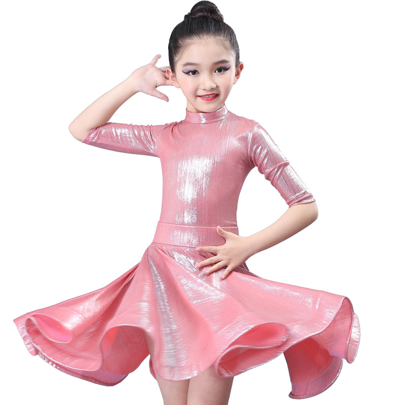 Kid Pink White Elegant Pleated Modern Salsa Latin Ballroom Dance Dresses For Girl Dance Clothes Dancing Competition Costume Wear