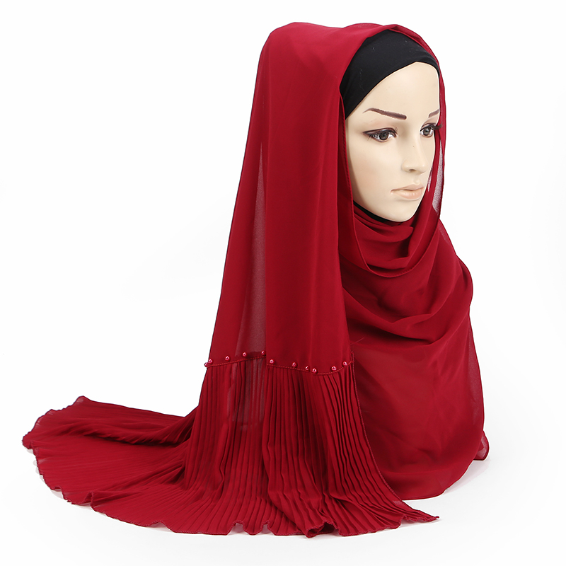 23 color bubble chiffon peals scarf scarves pleated plain shawls  women solid muslim Hijab essencial headband foulard new designWomens  Scarves