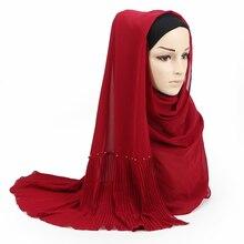 23 צבע בועת צלצולי שיפון צעיף צעיפי קפלים רגיל צעיפי נשים מוצק מוסלמי חיג אב Essencial סרט צעיף עיצוב חדש