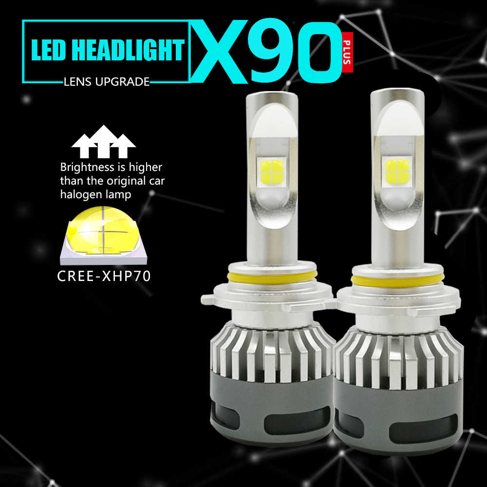 2PCS Auto H4 H7 mini LED H11 HB3 H13 9004 9007 9012 D2S headlight bulb High Low Beam Lamp whth xhp70 chip 100W 12000LM 6000K 12V