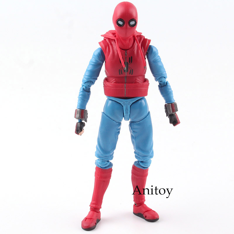 SHF S.H.Figuarts MARVEL Spider Man Action Figure Homecoming Spiderman Home Made Suit Ver. PVC Collectible Model Toy 14cm KT4800