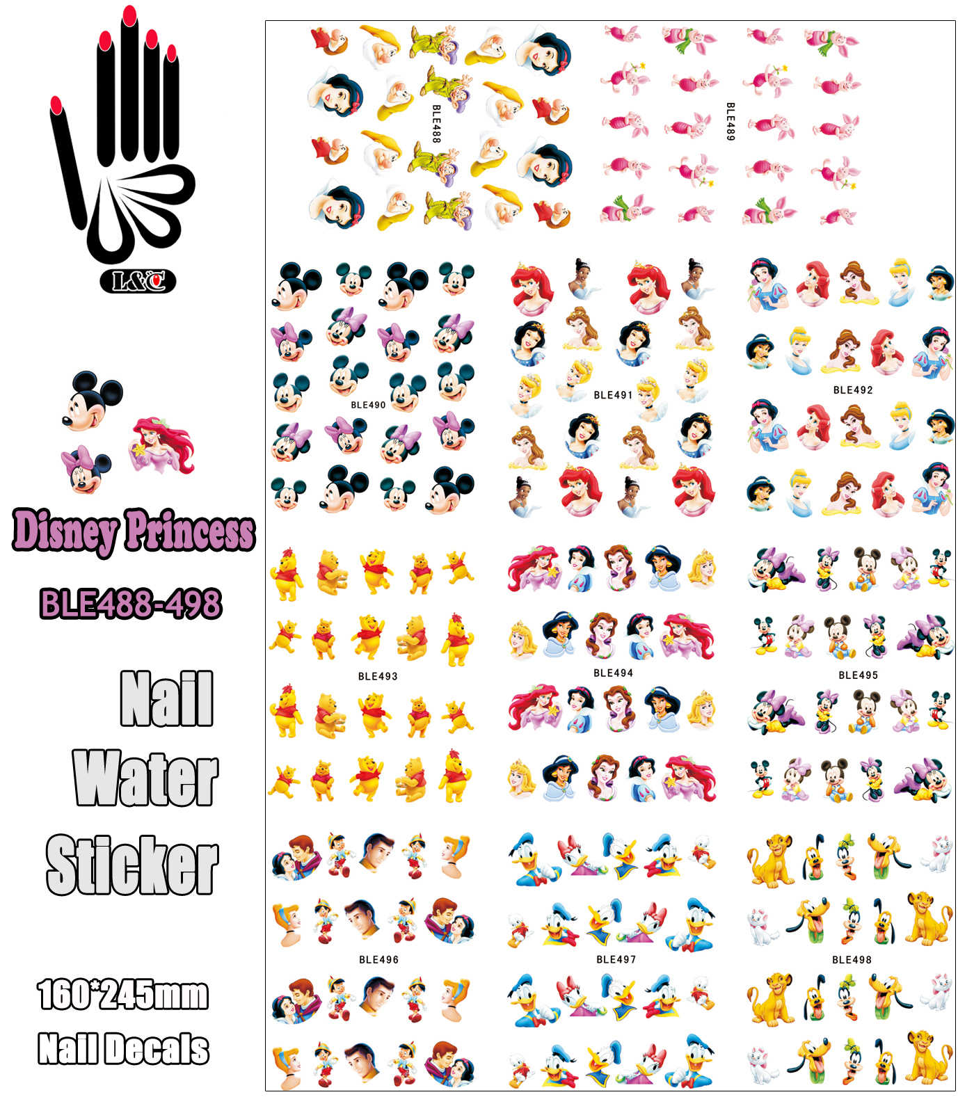 11 Sheets/Lot Nagels BLE488-498 Cartoon Mickey Prinses Beer Muis Nail Water Transfer Sticker Sticker Voor Nail (11 ONTWERPEN IN 1)