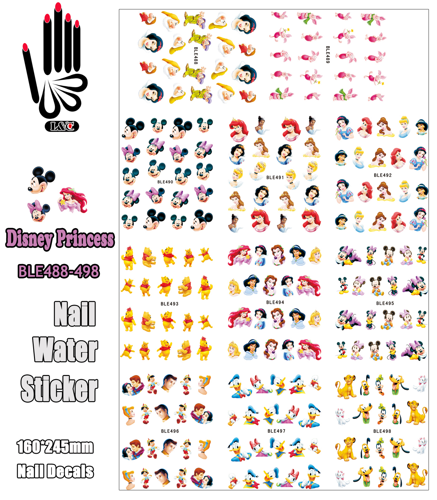 11 Sheets/Lot Nails BLE488-498 Cartoon Mickey Princess Bear Mouse Nail Water Transfer Sticker Decal For Nail(11 DESIGNS IN 1) 5pcs free shipping vacuum cleaner filter accessories parts hepa filter for philips fc8760 fc8764 fc8766 fc8761 fc8767