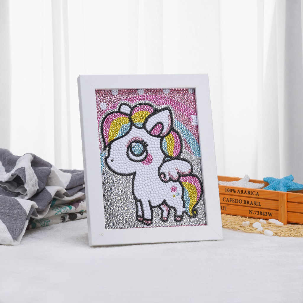 diamond embroidery circle diamond special shape cartoon animal pony frame painting rhinestone crystal painting kids room decor