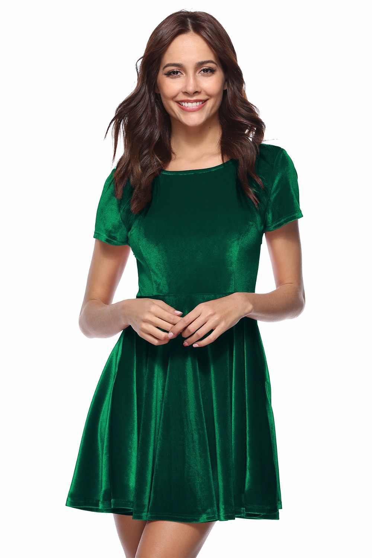 f85bf4fe6f ... BKLD 2018 New Arrival Spring Velvet Dress Women Red Blue Green Short  Sleeve Casual O- ...