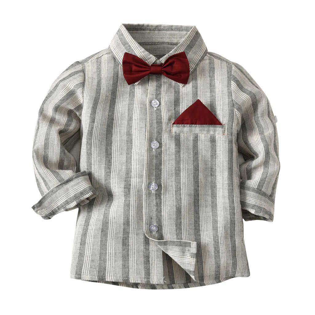 เด็กเสื้อผ้าชุดคริสต์มาสผ้าฝ้ายสุภาพบุรุษ Stripe Top เสื้อยืดลายสก๊อตกางเกงกางเกง Outfits ชุดตอนนี้ 2019 ใหม่มาถึง