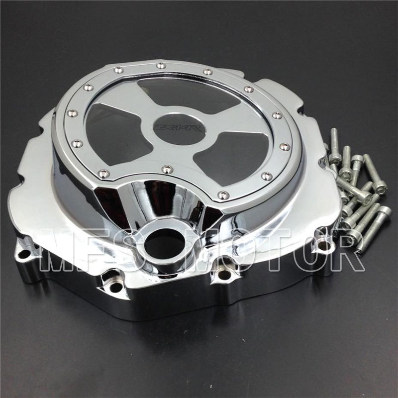 Motorcycle Part Right Engine Clutch cover see through For Kawasaki ZX14R ZZR1400 2006 2007 2008 2009 2010 2011 2012 2013 Chrome motorcycle parts left side billet engine stator cover for honda cbr1000rr 2008 2009 2010 2011 2012 2013 chrome