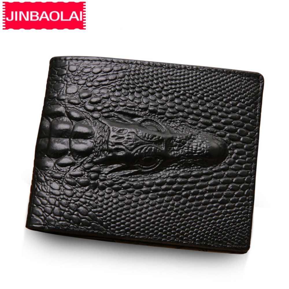 ddf715d8c781 Из натуральной кожи Для мужчин кошельки крокодил шаблон отделение для монет  черные короткие Для мужчин кожаный
