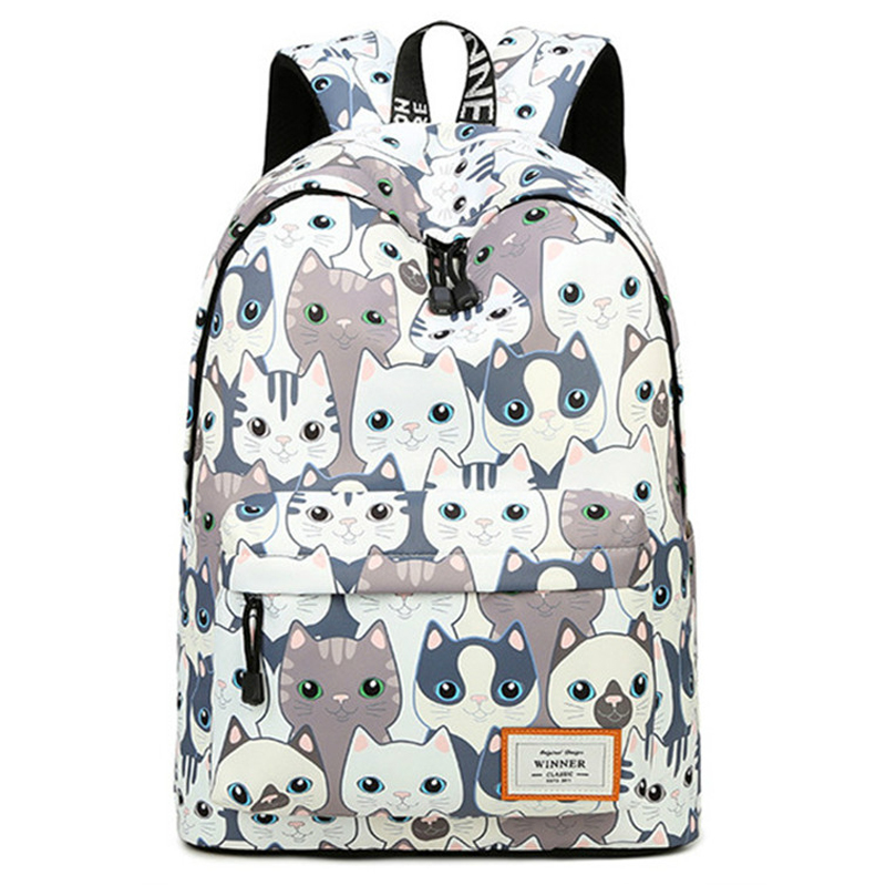 все цены на Waterproof Women Rucksack Back Pack Cute Cat Animal Printing Backpack Travel Bagpack School Bags for Teenage Girls