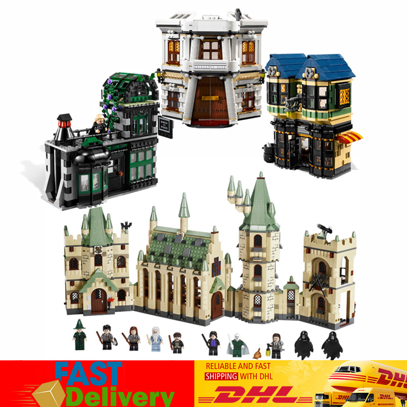 Lepin Movies Set 16012 The Diagon Alley +16030 Hogwart's Castle Building Blocks Bricks Toys Compatible LegoINGlys 10217 4842 lepin 16012 diagon alley building bricks blocks toys for children boys game model car gift compatible with bela decool 10217