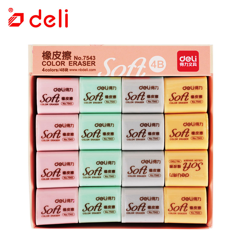 Deli 48Pcs Pencil Eraser 4 Colors Soft Drawing Writing Cleaner for Artist Student Stationery Erasers Wholesale School Supplies
