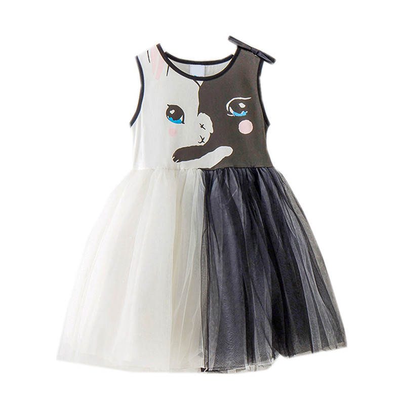 41792c55f2 4 to 14 years kids   teenager girls summer cat pattern tulle princess cute  dress children fashion 2018 vest flare dress clothes