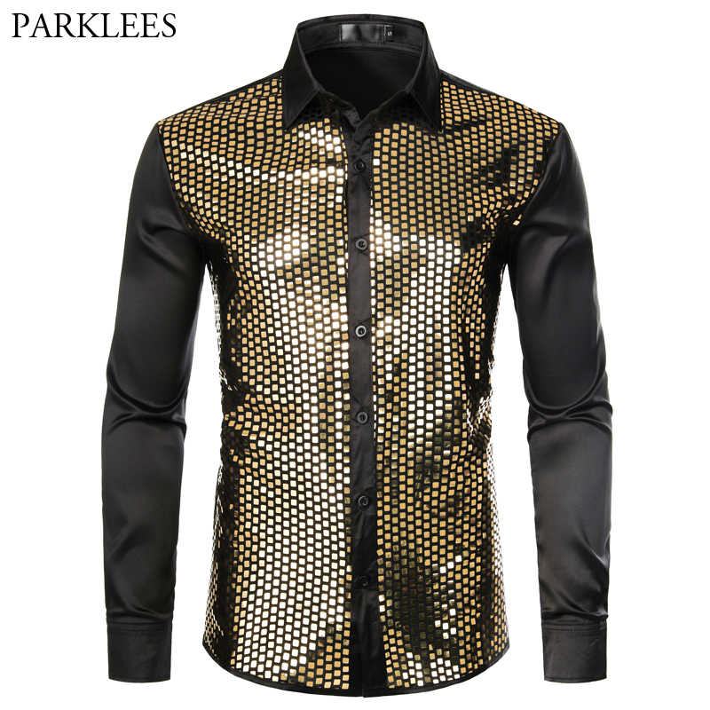 Shiny Gold Sequin Black Silk Dress Shirts Men Long Sleeve Button Down Shiny Disco Party Shirts Male Nightclub Party Prom Chemise