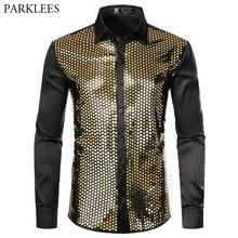 Chemise à manches longues pour hommes, Chemise en soie dorée et pailletée, noire, à boutons, pour soirée en discothèque, bal