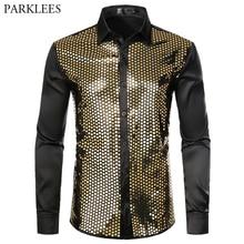 Parlak altın pullu siyah ipek elbise gömlek erkekler uzun kollu düğme aşağı parlak disko parti gömlek erkek gece kulübü parti balo chemise