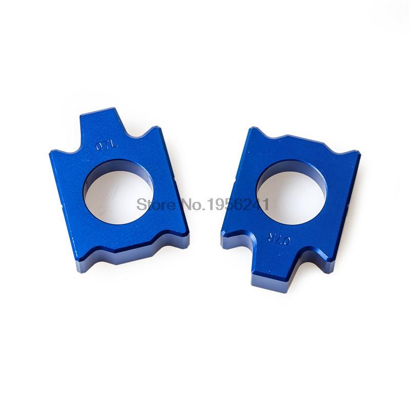 Blue Rear Axle Block Kit Chain Adjuster For Yamaha WR250F WR250R WR250X WR400F/426F YZ125 2002 2015 Bike