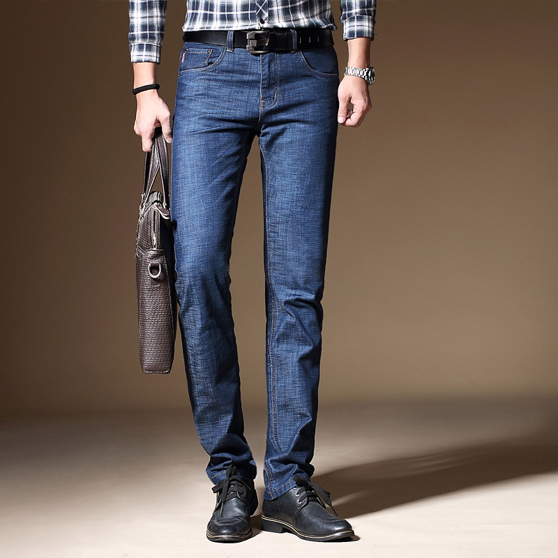 100% Cotton Spring Summer Men   Jeans   Slight Classic Denim Pants Male Washed Baggy Blue Designer Causal   Jeans   Man