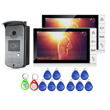 Cheaper FREE SHIPPING 9″ Color Screen Video Door Phone Intercom System 2 White Monitors + Waterproof RFID Doorbell Camera Night Vision