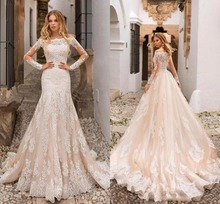 Beautiful Champagne Mermaid Wedding Dresses Off Shoulder Lace Appliques Sheer Long Sleeves Tulle Bridal Gowns