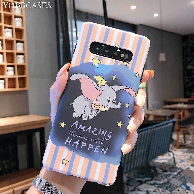 YHBBCASES For Samsung Galaxy S10 5G S8 S9 Plus Cartoon Cute Dumbo Soft Cases For Samsung Note 10 8 9 Retro Elephant Phone Cover