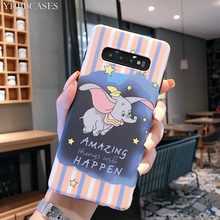 YHBBCASES For Samsung Galaxy S10 5G S8 S9 Plus Cartoon Cute Dumbo Soft Cases Note 10 8 9 Retro Elephant Phone Cover