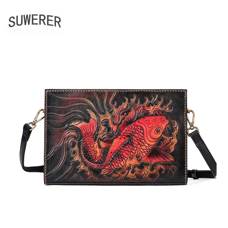 SUWERER women genuine leather bag top cowhide Hand Carved women handbags fashion Luxury clutch bag women leather Envelope bagSUWERER women genuine leather bag top cowhide Hand Carved women handbags fashion Luxury clutch bag women leather Envelope bag