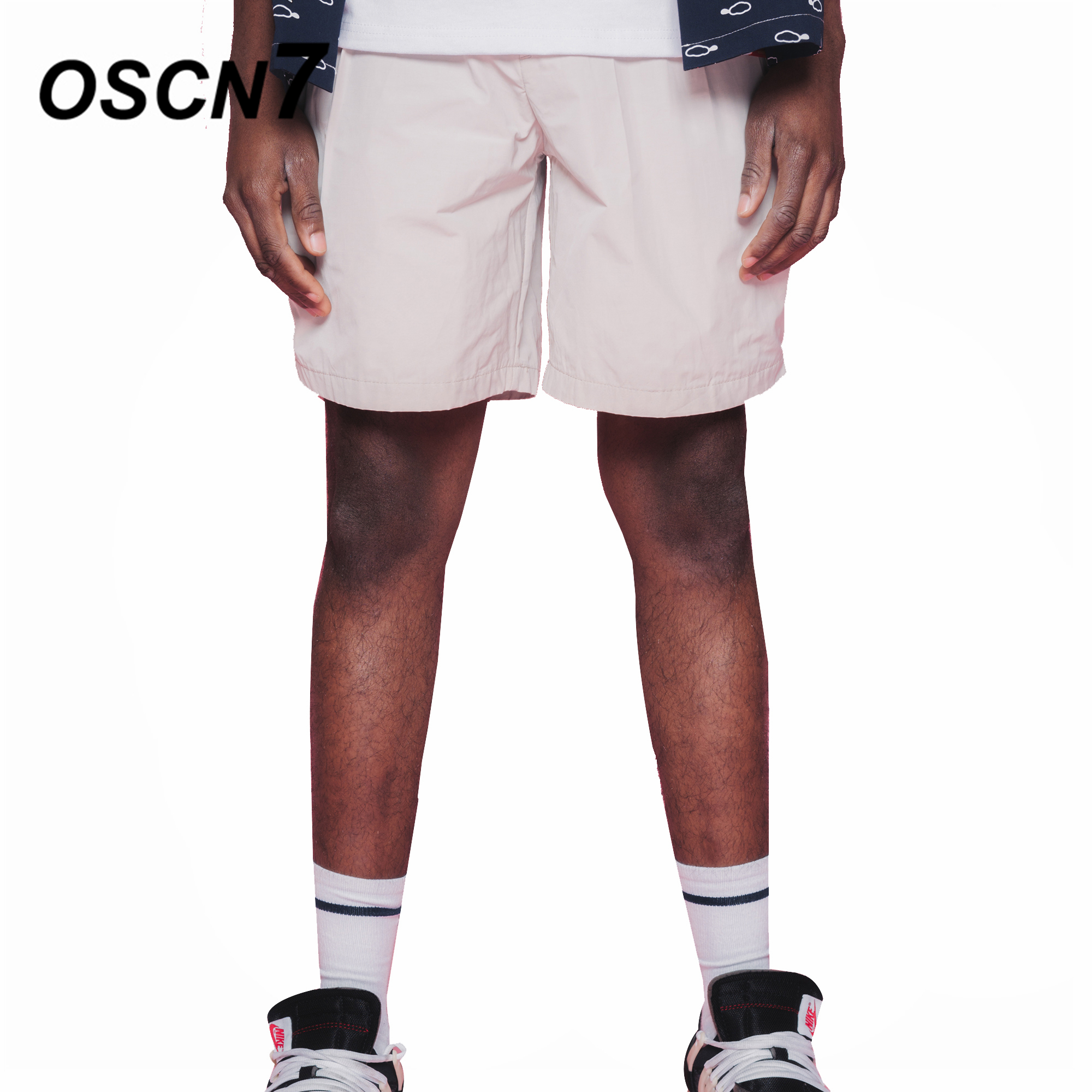 OSCN7 Solid Leisure Shorts Men Summer New Streetwear Short Pants Large Size Casual Mens Shorts D811