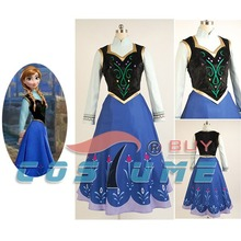 Princess Anna Women Adult Shirt Blue Long Dress Anime Party Halloween Cosplay Costume Free Shipping