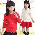 2017 Primavera Outono de Mangas Compridas Meninas Sweater Cardigan Crianças Casacos E Jaquetas de Meninas Roupas de Bebê Cardigan Arco Menina Da Escola JW1415