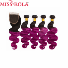Miss Rola Hair Pre colored Ombre Indian Body Wave 1B Purple 100 Human Hair Non Remy